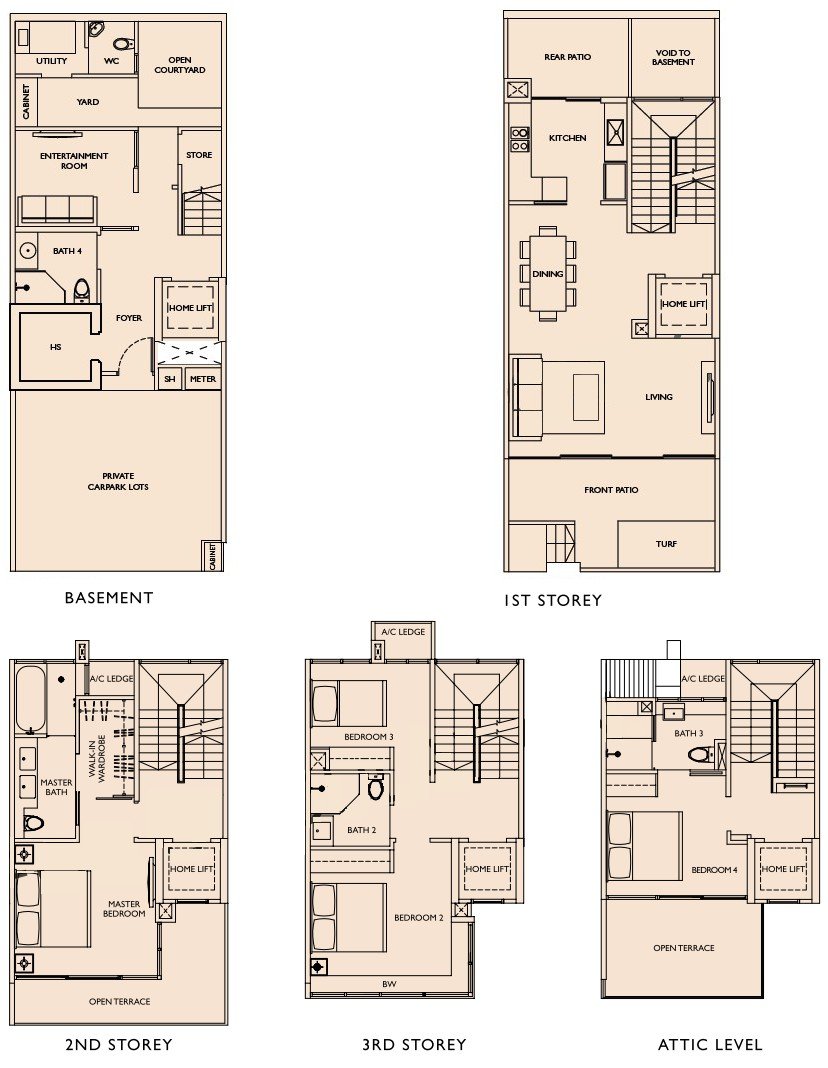Este villa floor plans este villa cluster houses for Villa floor plans