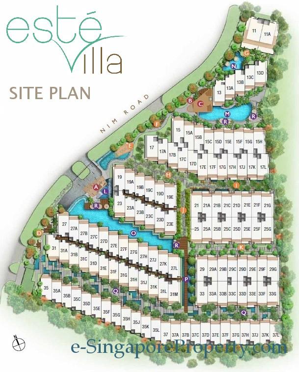 Villa Site Plan Design: Este Villa Cluster Houses