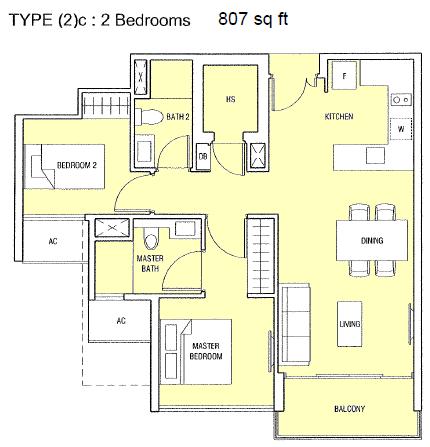 Singapore Bartley Condo 2 Bedroom Unit